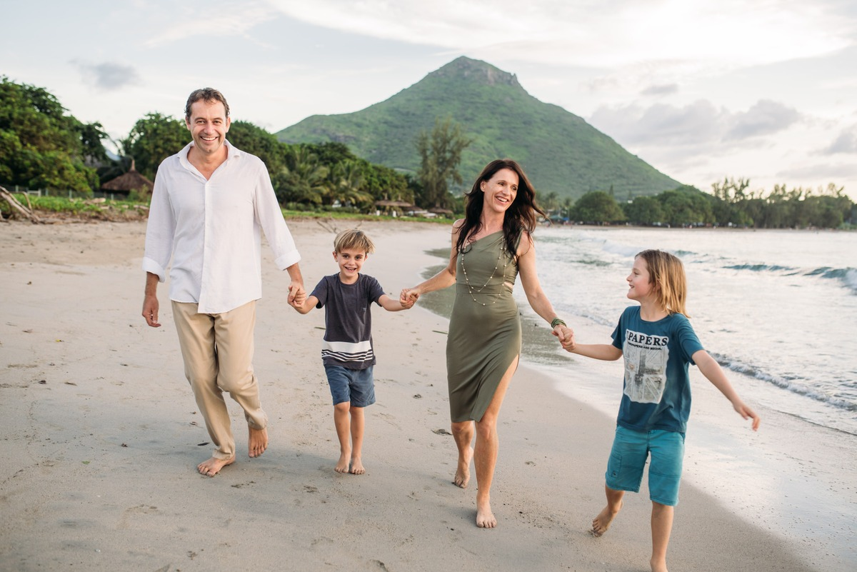 Heather and Garth Drummond with their 2 sons in Mauritius Tamarin